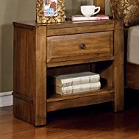Conrad Country Style Rustic Oak Finish Bedroom Nightstand