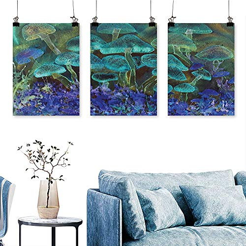 - SCOCICI1588 Three Consecutive Painting Frameless Speckled Fluorescent Mushroom Figures Dreamy Fantasy Graphic Slate Blue Violet Artwork for Wall Decor Triptych 16 INCH X 30 INCH X 3PCS