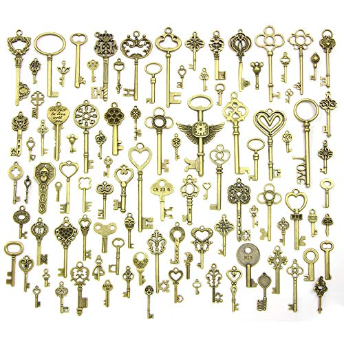 (Pack of 100 Pieces Wholesale Antique Bronze Vintage Color Petite to Large Size Mix Size Skeleton Key Charms DIY Necklace Pendant for Handmade Craft Jewelry)