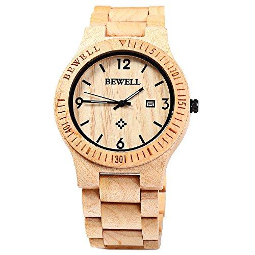 Bewell ZS - W086B Herrenuhr,Männeruhr,Holz Bangle Quarz Uhr mit Kalender Anzeige,Armbanduhr für Mann,Natürliche Holz Hölzerne Uhr,Japanisches Quarzwerk Zeiger