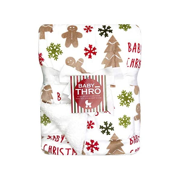 Thro Micromink Decorative Christmas Baby Throw Blanket, 30″ x 40″ (Ginny Gingerbread Man)