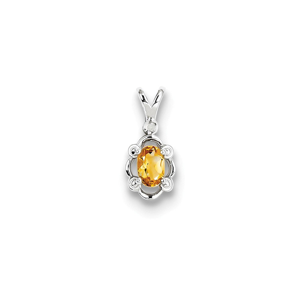CoutureJewelers Sterling Silver Citrine /& Diamond Pendant