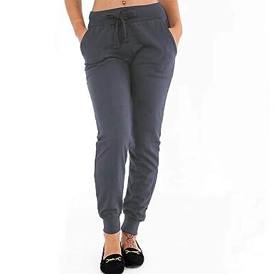 FRAUIT Pantalón de Chándal de Algodón para Mujer Pantalones ...