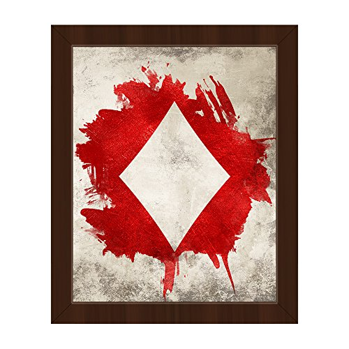 Stone Diamond: Distressed Modern Contemporary Abstract Graphic of Playing Card Suit Wall Art Print on Canvas with Espresso Frame
