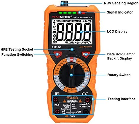 LIZANAN Digital Digital Multimeter PM18C with True RMS AC/DC Voltage Resistance Capacitance Frequency Temperature NCV Tester Digital Tester Multifunctional Multimeter