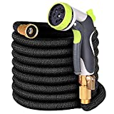 100ft Garden Hose - Upgraded Expandable Water Hose with Double Latex Core, 3/4' Solid Brass Fittings,Extra Strength Fabric Flexible Expanding Hose with Zinc Alloy 8 Function Spray Nozzle+Hanger