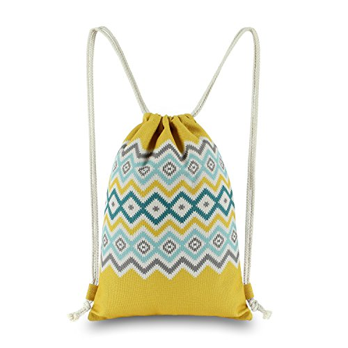 Miomao Drawstring Bag String Backpack Gym Sackpack with Pockets, Hawaiian Pineapple Bohemia Causel Rucksack, Outdoor Mulitpurpose Shoulder Cinch Bags Yoga Daypack, 13 X 18 Inches, Yellow (Drawstring Handbag Tote Print)