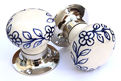 Knobbles and Bobbles Mortice Knobs - Blue Flowers (Silver) Knobbles and Bobbles Ltd