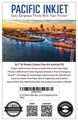 5x7 20 Sheets 100% Cotton Fine Art Matte Finish Double Sided Inkjet Paper - Professional Archival Grade Paper for Use with Inkjet Printers - OBA Free Printer Paper for Photography and Art
