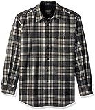 Pendleton Men's Long Sleeve Button Front Classic Lodge Shirt, Grey/Ivory Plaid-31967, LG