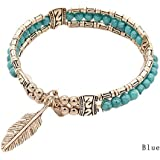 Sumanee Women Men Ethnic Bangle Tibetan Silver Feather Bracelet Turquoise Bracelet