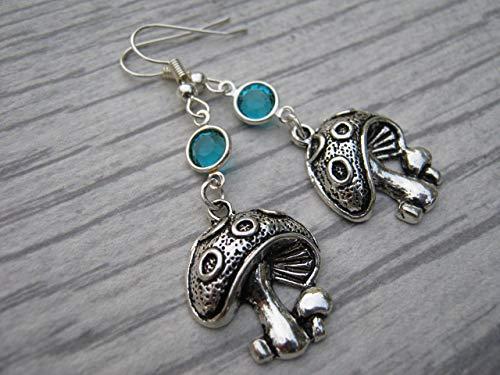 Mushroom Birthstone Earrings, Personalized Nature Earrings, Fungi Earrings, Magic Mushroom Earrings, Handmade in USA