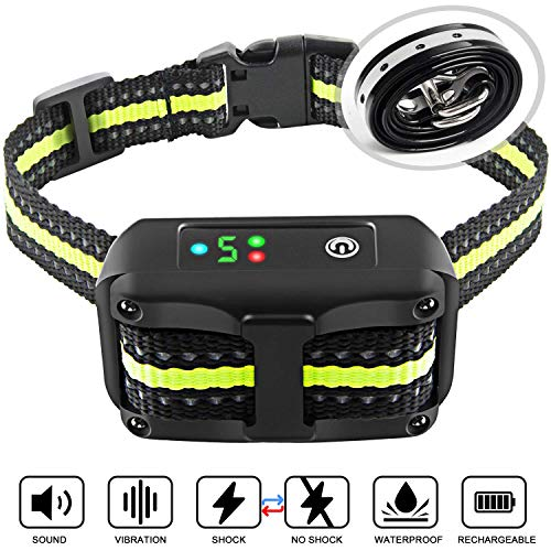 Bark Collar 2019 Upgrade Version No Bark Collar Rechargeable Anti bark Collar with Beep Vibration and No Harm Shock Smart Detection Module Bark collar for Small Medium Large Dog