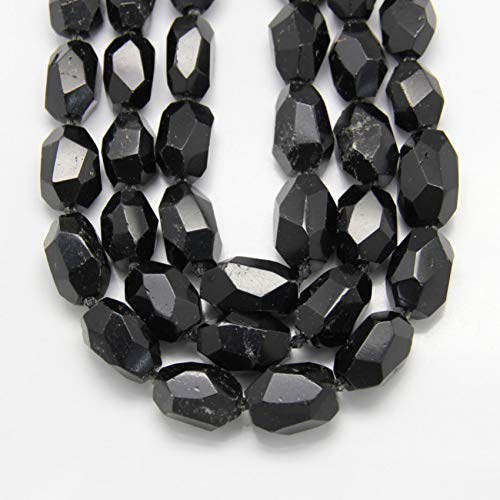 - FURUIS Natural Black Tourmaline Faceted Nugget Loose Beads for Necklace Supplies,Center Drilled Raw Stones Pendants Jewelry