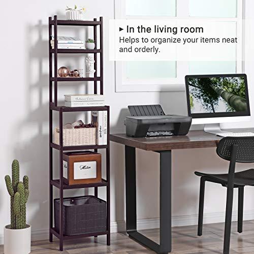 SONGMICS 7-Tier Bamboo Bathroom Shelf, 2-in-1 Design Adjustable Storage Rack, Free Standing Multifunctional Organizer, Shelving Unit for Washroom, Living Room, Kitchen, Brown UBCR01BR, 1603628 cm, by SONGMICS (Image #3)