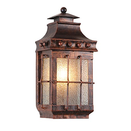 - JinYuZe Porch Wall Light,1-Light Metal Glass Lantern Outdoor Wall Sconce