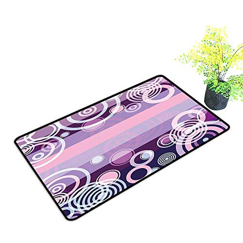 Big Bold Border (gmnalahome Front Door Mat for Indoor Outdoor Entry Rug Bold Borders in Middle 70s Vintage Magenta Hot Pink and White Keep Your House Clean W21 x H11 INCH)