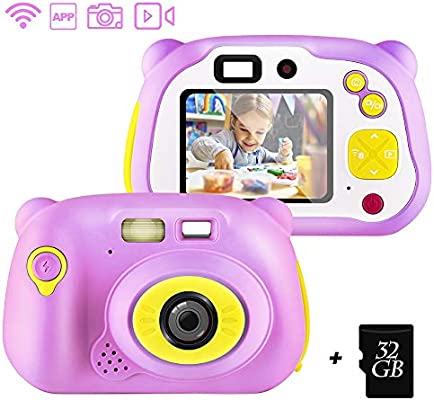 shumeifang Cámara Digital para Niños con 32GB Tarjeta TF & Acollador, 2 Objetivos Selfie 12 MP 2720P HD Video Cámaras, 2.0 Pulgada LCD Pantalla a ...