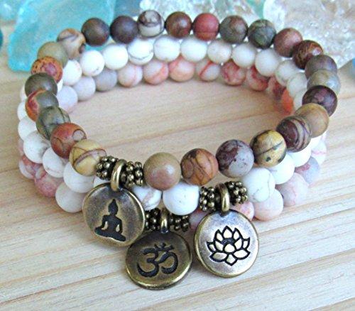 Picasso Bead Bracelet (Earthy Yoga stack, Yoga bracelets, red vein & picasso Jasper, magnesite, bracelet set, Reiki Charged, stacking malas, Meditation om, lotus, Buddha, custom sizing bracelets)