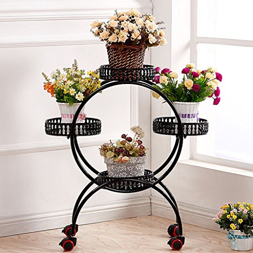 LIZX European - Style Iron Art Flower Frame Multi - Storey Movable Pulley Floor - Style Flower Pot Frame Living Room Balcony Rust - Proof Plant Rack ( Color : D ) by Flower Pot Stand