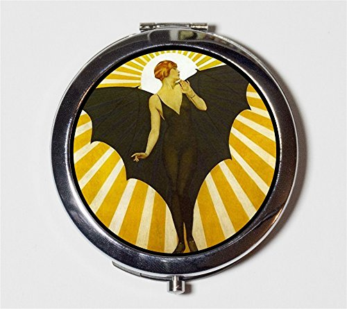 Art Deco Bat Lady Compact Mirror Goth Roaring 1920s Jazz Age Make Up Pocket Mirror for Cosmetics