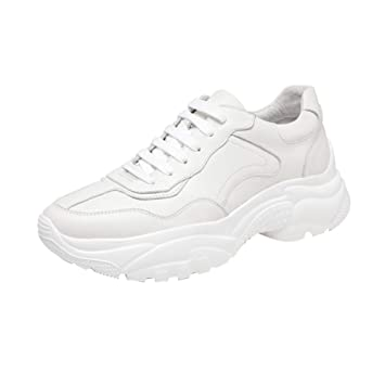 Amazon.com: Sneakers Mens Thick-Soled Shoes Lace-Up Sneakers Shoes Autumn White Casual Running Shoes Leather White Shoes: Sports & Outdoors
