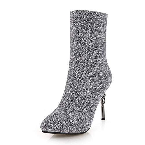 43 Grande En De El Zapatos 32 Tacones 2018 Tamaño Mujer Tobillo Hoesczs Altos Calcetín Gray Botas Delgados Resbalón 6qnw1IEE