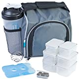 Homely Bliss Meal Prep Lunch Box Cooler All-in-One Kit Including an Insulated Lunch Bag, 6 Portion Control Containers, a 20 oz. Shaker Bottle, a Pill Box, and a FREE Ice Pack.