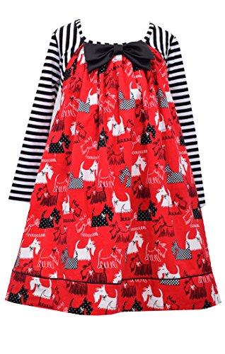 Scottie Dog Dress - Bonnie Jean Little Girls' Scotty Dog Corduroy Printed Dress, Red, 4