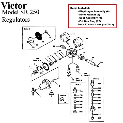 Victor 250-80-540 Oxygen Regulator Rebuild/Repair Parts Kit w/ Diaphragm