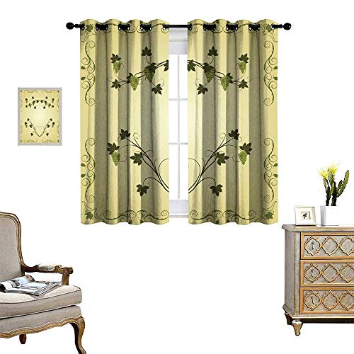 RuppertTextile Blackout Curtains for Bedroom Illustration The Grape twig Ornate Drapes W55 x L45