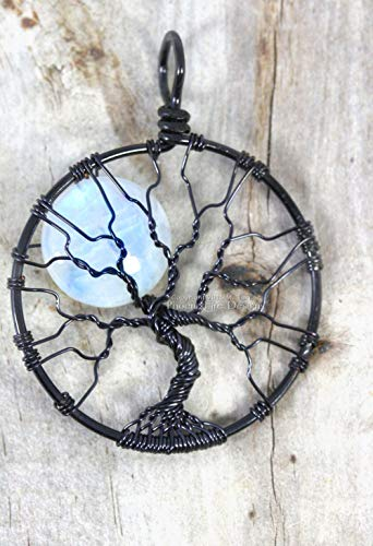 Tree of Life Pendant Natural Rainbow Moonstone Full Moon Black Wire Wrapped Handmade Necklace