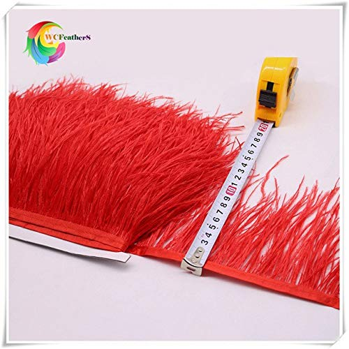 CUSHY pr 1yard 4-6' real ostrich feather fringe trims dyed pink ostrich feather Trimming on Satin Header: COLOR O3