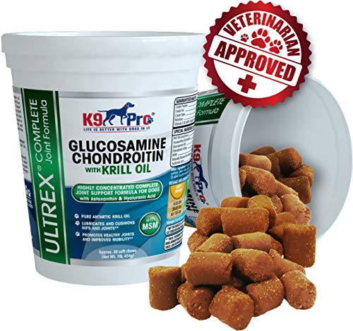 Glucosamine Chondroitin for Dogs Chewable - The #1 Dog Joint Supplement Treats Tasty Moist Chews (2 Full Months Supply) MSM Krill Omega 3 Fish Oil Astaxanthin Best Hip and Joints Treat for Your Pet