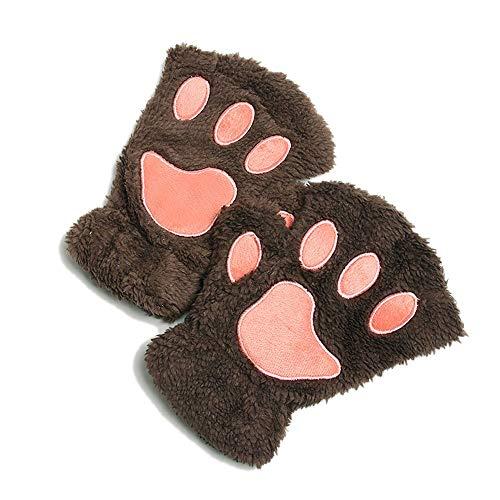 DraFenn Women Animal Paw Gloves Fingerless Fluffy Bear Plush Paw Mittens Novelty Halloween Soft Gloves,Color 5,One Size -