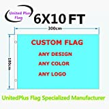 Unitedplus 6×10 Foot custom flag-100D Polyester Polyester with Brass Grommets – Customize Flags And Banners For Sport Outdoor Banner custom flag- Advertising Banner (6X10 FT)