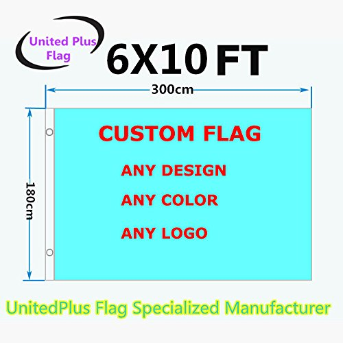 Unitedplus 6x10 Foot custom flag-100D Polyester Polyester with Brass Grommets - Customize Flags And Banners For Sport Outdoor Banner custom flag- Advertising Banner (6X10 FT)