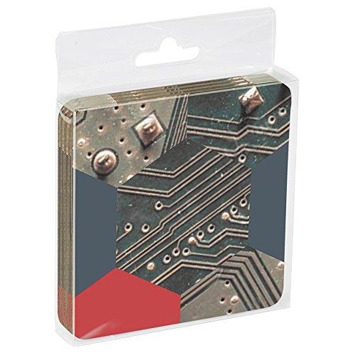 Tree-Free Greetings EC16170 EcoCoaster Set in Acrylic Box, Set of 4, Circuit Board Hexagon