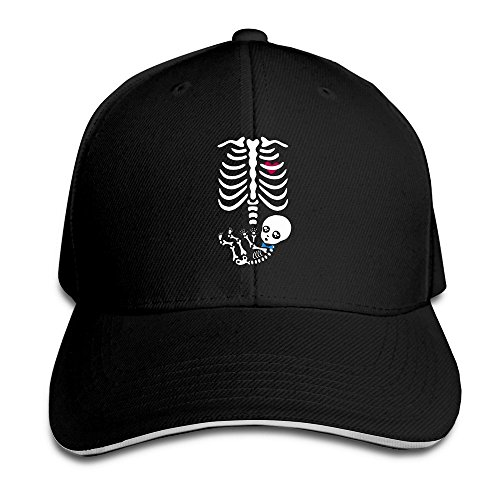 [Runy Custom Mommy And Baby Halloween Skeleton Adjustable Sanwich Hunting Peak Hat & Cap Black] (Funny Bones Skeleton Costume)