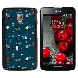 Qstar Arte & diseño plástico duro Fundas Cover Cubre Hard Case Cover para LG Optimus L7 II P710 / L7X P714 ( Dolphins Anchor Sea Art Wallpaper Colorful Blue)