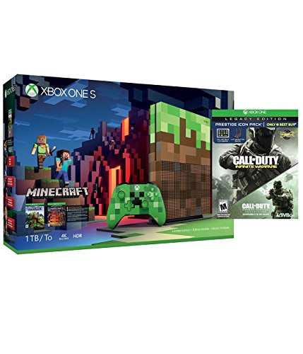 Microsoft Minecraft Limited Edition Xbox One S 1TB Console and Call of Duty: Infinite Warfare Legacy Edition Prestige Icon Pack Bundle
