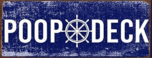Poop Deck Metal Sign, Nautical Decor, Boat, ship, Bath Décor