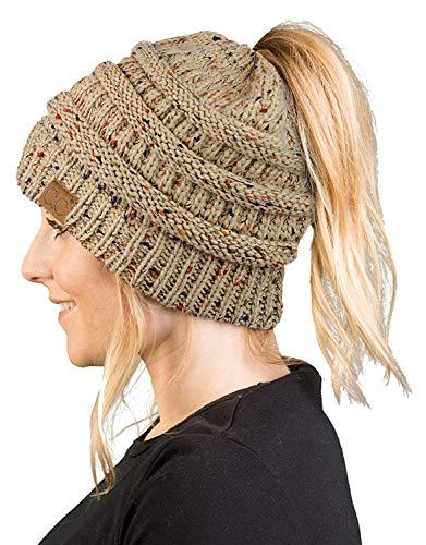 BT-6800-3389 Messy Bun Womens Winter Knit Hat Beanie Tail - Latte (Confetti)