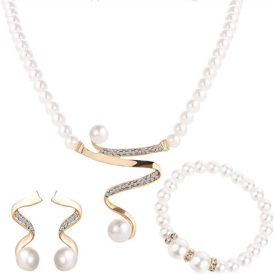 Wmchiwan Mujer Boda Novia Cristal Color Marfil Imitación Perlas Espiral Filigrana Collar con Colgante Aro Pendientes Huggie Set
