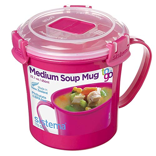 Sistema Microwave Collection Noodle Bowl 31.7oz, Red 1109ZS, 4 Cup, (Bowl Microwaveable Pink)