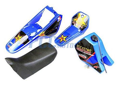 8.7L Yamaha PW80 PW COYOTE 80 TANK SEAT PLASTIC + ROCKSTAR GRAPHIC KIT BLUE DE51+ PCC Motor