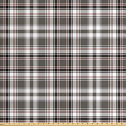 Lunarable Plaid Fabric by The Yard, Classic English Tartan Plaid Cells Stripes Scottish Geometric Traditional, Decorative Fabric for Upholstery and Home Accents, 1 Yard, Grey Black ()