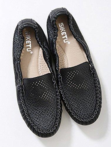 Femme Simple Plates Chaussures Coutures Aisun Noir Mocassins dqTU5I