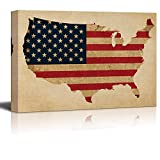 LEO BON Wall Art for Home Decor American Flag Over a Map of The United States of America Over a Vintage Texture - Nature - Canvas Art Home Decor - 28'' x 40''