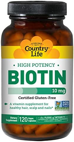 Country Life Biotin High Potency, 10 mg, Healthy Skin, Nails & Hair, Vitamin B7, 120 Count, Gluten-Free, Non- GMO Capsules
